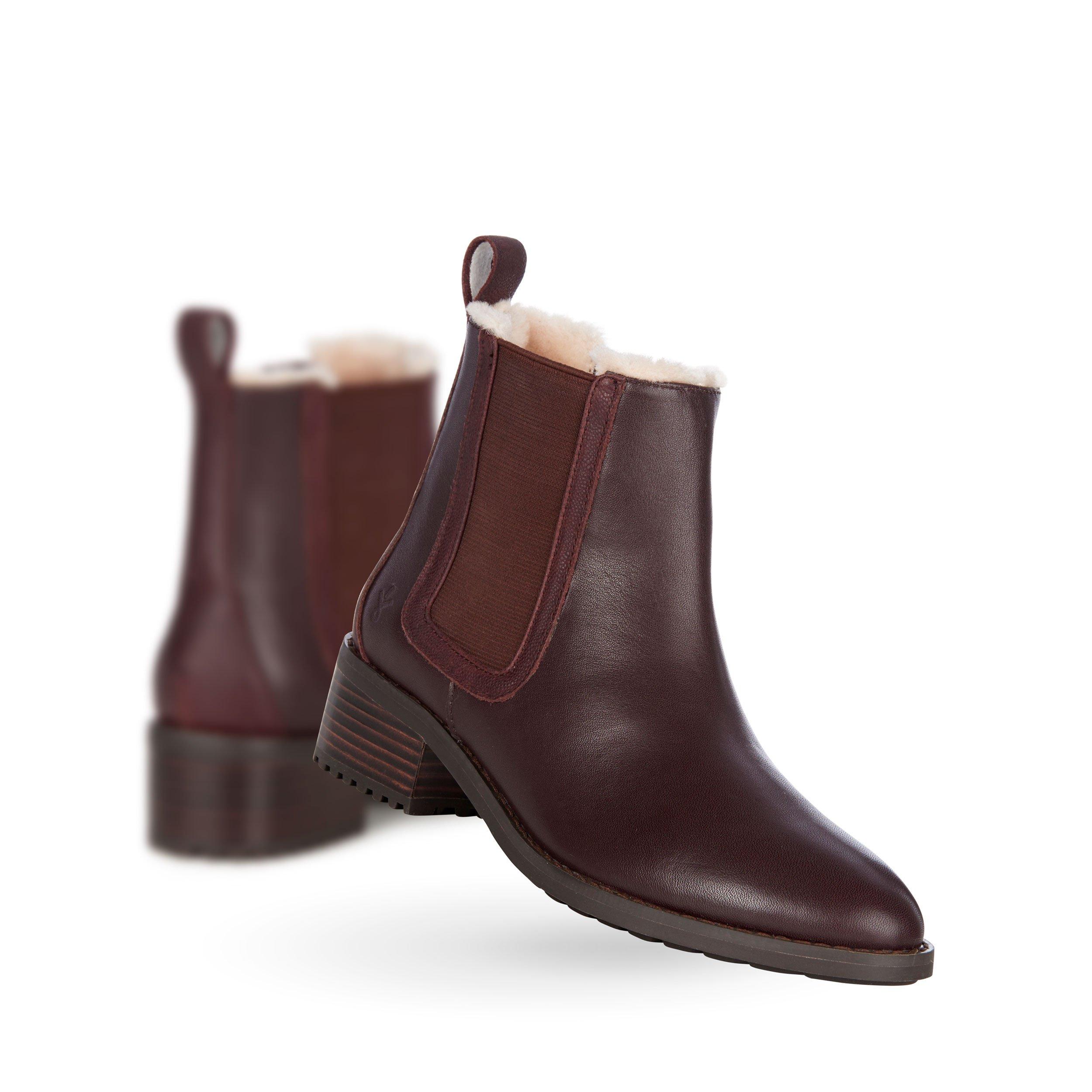 EMU Australia Ellin Womens Deluxe Wool Waterproof Boots in Claret Size 9