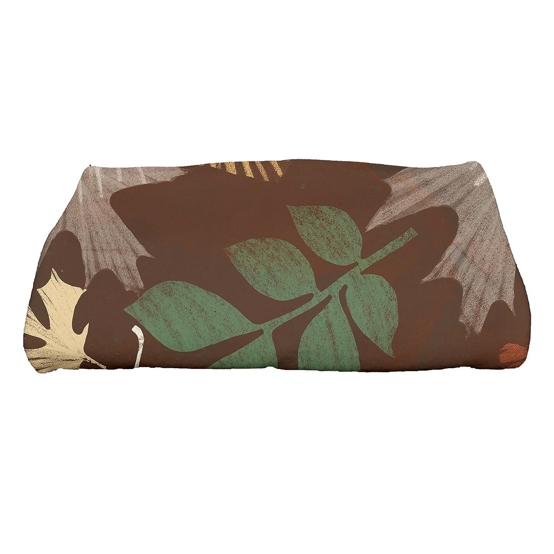 E by design Watercolor Leaves Floral Print Bath Towel 28 x 58 Brown