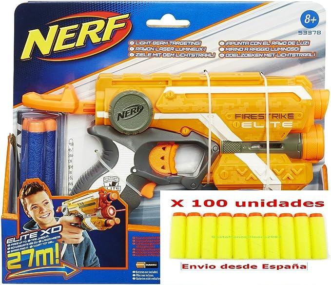 Nerf - Pistola Elite FiresTrike Blaster + Pack de (((100 dardos)))+ 2 pilas de REGALO para Nerf!!! ®GastaMenosDinero (amarillo): Amazon.es: Juguetes y juegos