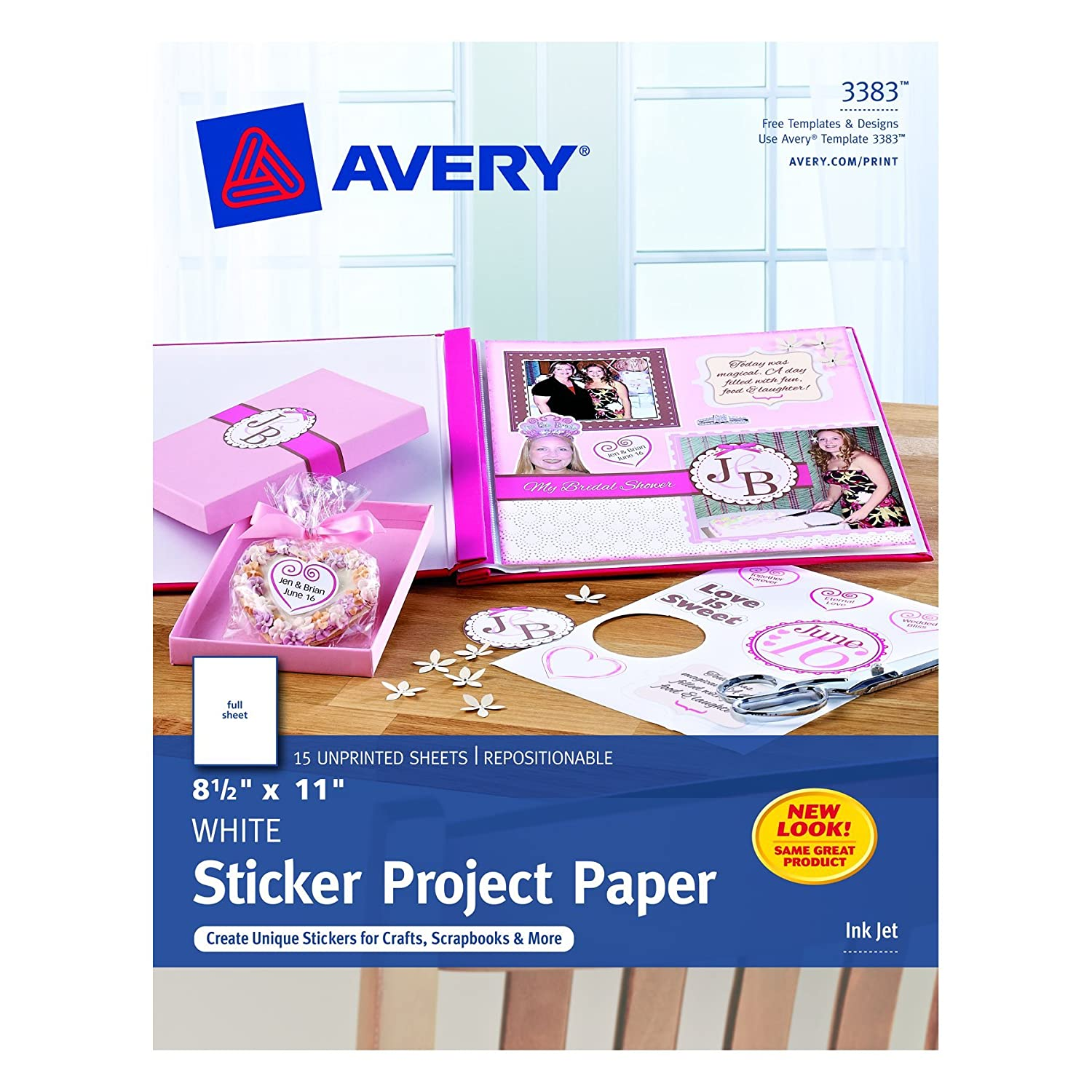 Avery Sticker Project Paper, White, 8.5 x 11 Inches, Pack of 15 (03383)