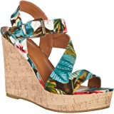 Rampage Womens Heidi Tropical Wedge Sandals 7 Tropical floral multi