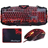Gaming Keyboard and Mouse Combo-BlueFinger USB Wired LED Backlit 3Color Adjustable Keyboard and Mouse Set with Cool Crack Pattern Adjustable Color Mouse + BlueFinger Customized Gaming Mouse Pad