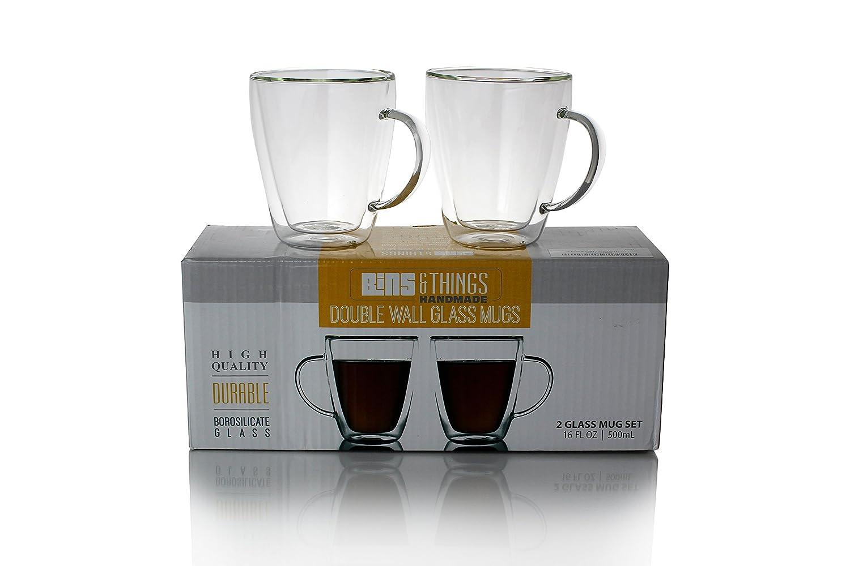 99e7835d51bef9 Tasses à café en verre à double paroi 500 ml, Lot de 2, tasses en verre  isotherme pour Matin Café chaud, thé ou boissons chaudes ou froides   Amazon.fr  ...