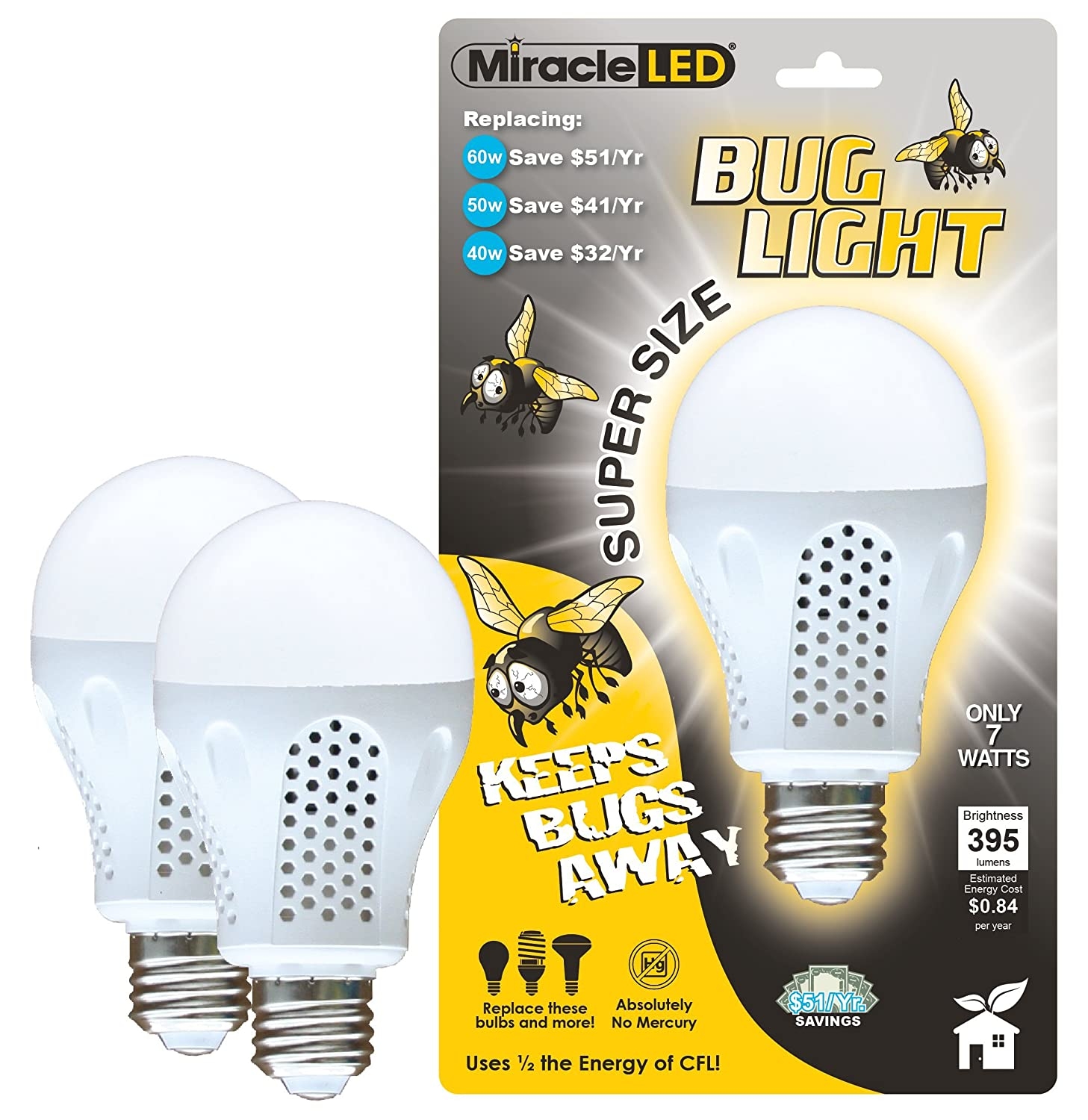 Miracle LED 604734 7 Watt Super Bug Light Bug Free Porch and Patio Light Yellow 2-Pack - - Amazon.com  sc 1 st  Amazon.com & Miracle LED 604734 7 Watt Super Bug Light Bug Free Porch and ... azcodes.com