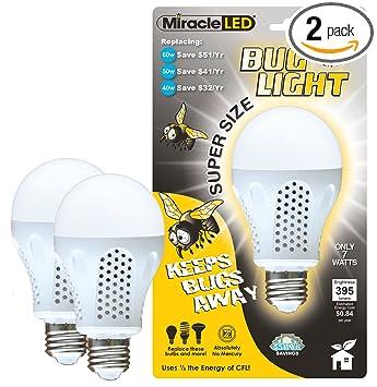Miracle LED 604734 7 Watt Super Bug Light, Bug Free Porch And Patio Light,