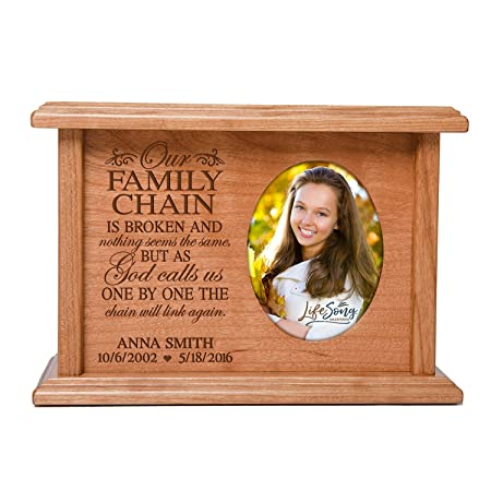 Cremation Urns for Human Ashes SMALL Memorial Keepsake box for cremains, personalized Urn for adults and children ashes Our FAMILY CHAIN IS BROKEN…SMALL portion of ashes holds 2×3 photo