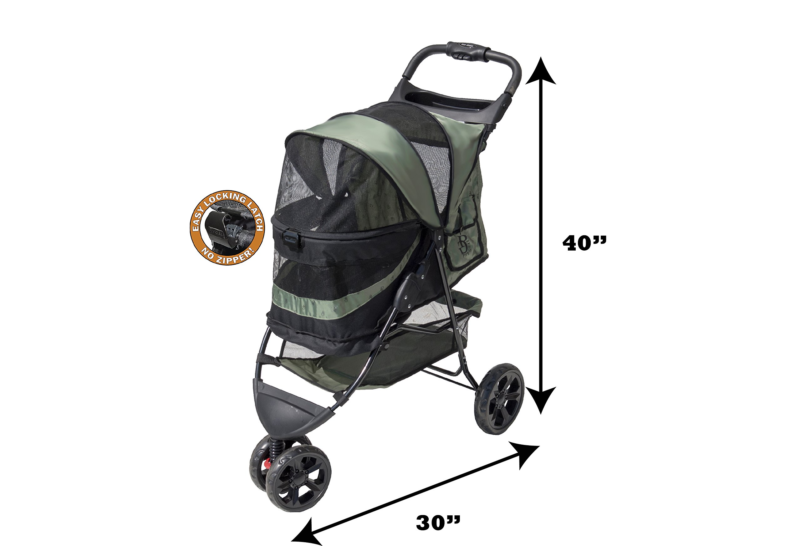 Pet Gear No-Zip Special Edition Pet Stroller, Zipperless Entry, Sage by Vermont Juvenile MFG DBA (Pet Gear) (Image #6)