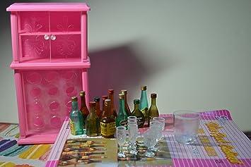 barbie size dollhouse furniture wine cabinet liquor bottles and glasses amazoncom barbie size dollhouse
