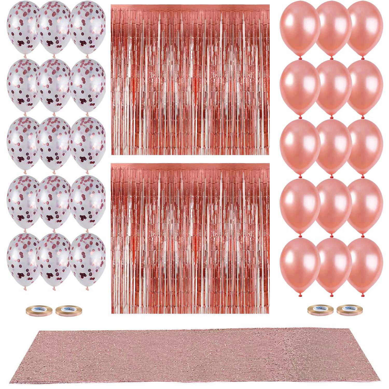 ローズゴールドブライダルシャワー装飾、スパンコールテーブルランナー12 x 108インチ、ホイルバルーン、ローズゴールド紙吹雪とラテックスバルーン、ウェディングブライダルシャワー子供卒業式パーティーDecorations Supplies   B07DCNNZPN