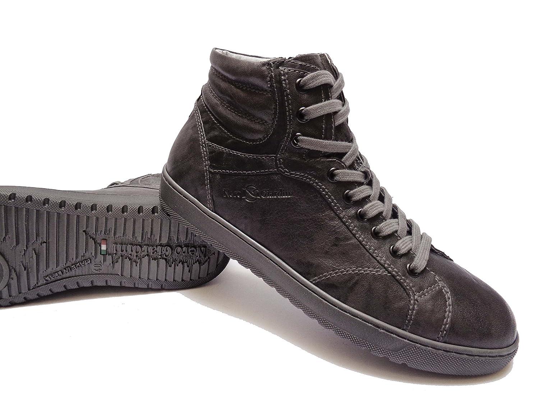 Nero Giardini 5350 scarpe alte casual da uomo in pelle col. Piombo con  lacci + cerniera laterale d40c25b7b7c