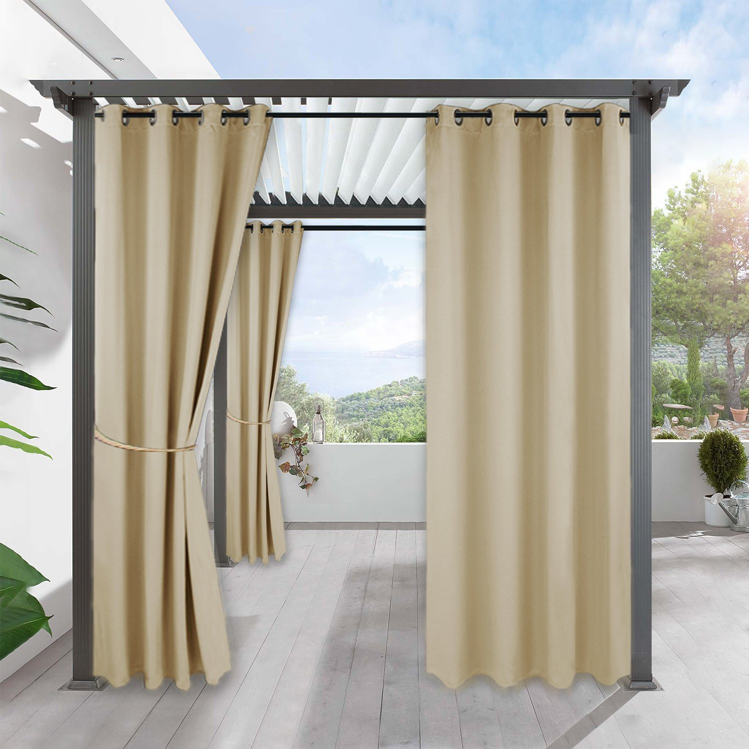 RYB HOME Outdoor Patio Curtains - Heavy Weighted Porch Waterproof Curtains Courtyard Outside Shade for Farmhouse Cabin Pergola Cabana Corridor Terrace, 1 Panel, 52 x 95 inches Long, Biscotti Beige