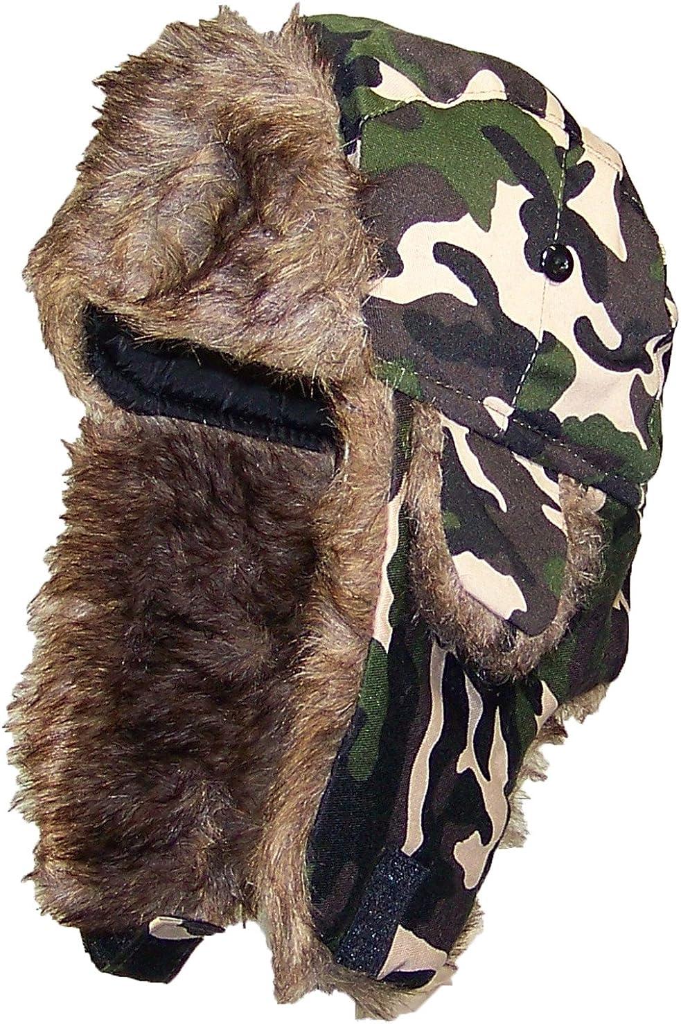 Camo Fleece Trapper Hat Camouflage Aviator Bomber Winter Warm Russian Ushanka Sk
