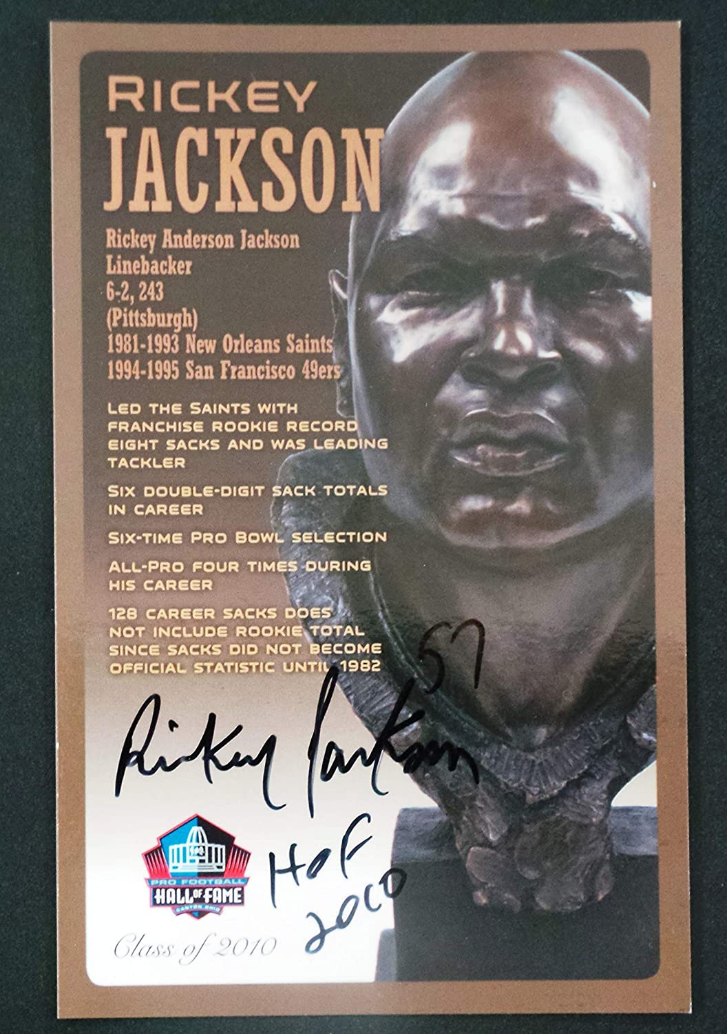 B00CV9CMC2 PRO FOOTBALL HALL OF FAME Rickey Jackson NFL Signed Bronze Bust Set Autographed Card with COA (Limited Edition # of 150) 81xv4Dk0liL
