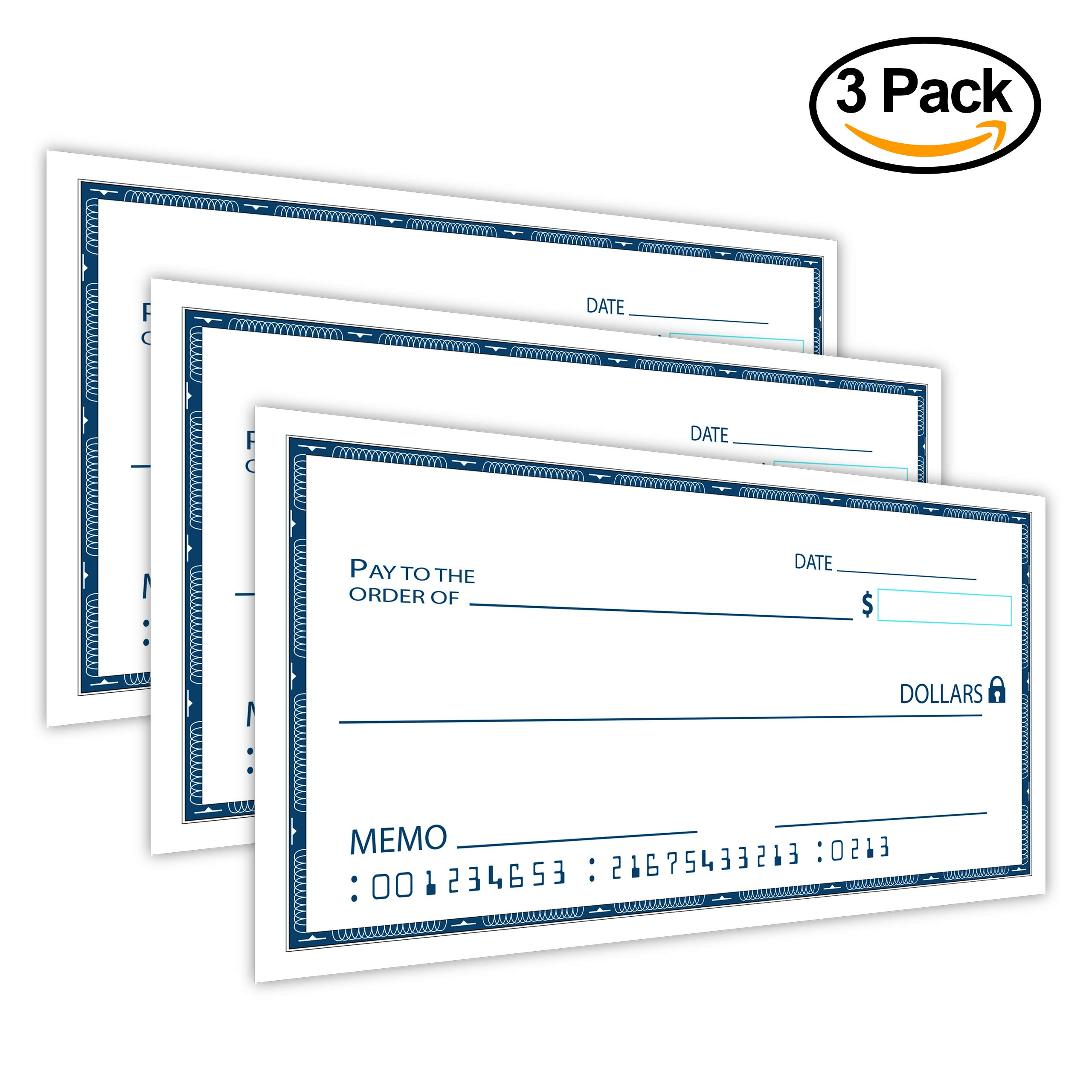 [Dry Erase] 24'' x 48'' Oversize Giant Check - Large Fake Checks - Reusable Big Blank Presentation Check for Charity Donation, Lottery, Raffle, Novelty, Fundraiser, Endowment, Gag Gift (White) (3) by JJ CARE