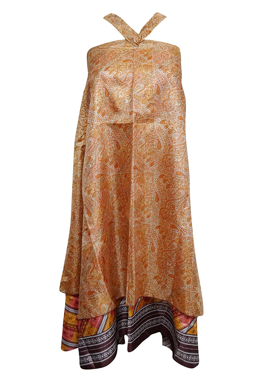 Mogul Interior Women's Wrap Skirt Orange Paisley Printed Vintage Silk Sari Reversible Summer Dress