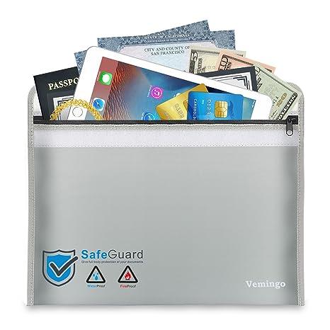 Vemingo ignífuga para Documentos A4, feuersichere Funda Impermeable Bolsa depósito para Documentos Passport Banco Archivo Dinero Objetos de Valor, de ...
