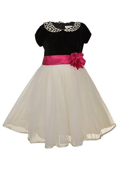 5a435e2c2b1 Jona Michelle Girls 2-6X  Spotted Collar  Velour Bodice Cap Sleeve Party  Dress