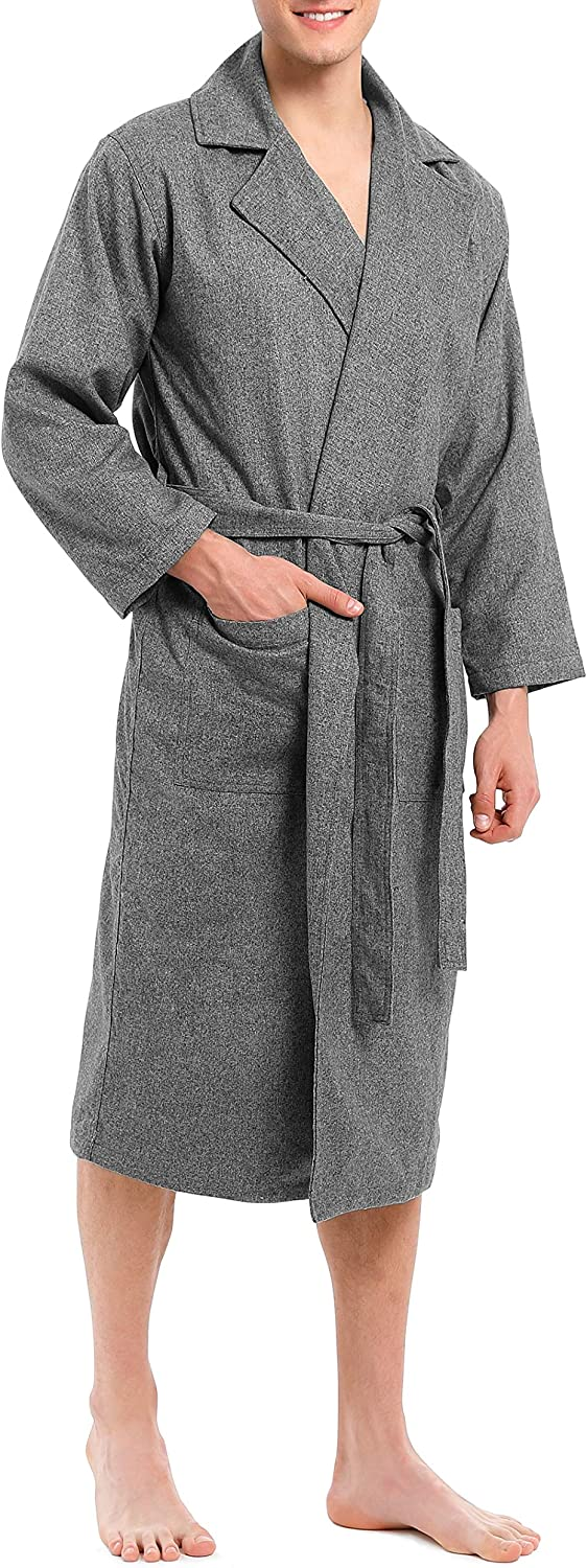 DAVID ARCHY Men's Plush Robe Shawl Collar Soft Cotton Modal Cozy Hotel Robe Big and Tall Long Bathrobe
