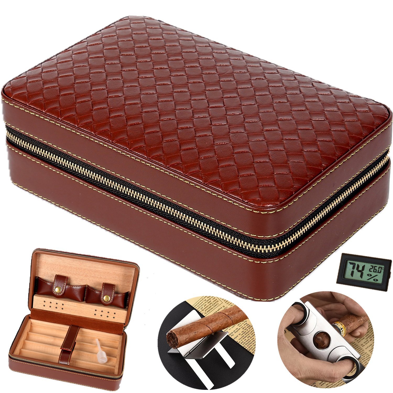 COMMODA Portable Genuine Leather Cedar Cigar Travel Case Cedar Humidor with Digital Hygrometer Cutter Stand Set Wooden Box for 4 Cigars (Brown Woven)