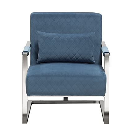 Diamond Furniture STUDIOCHBU Studio Accent Chair In Royal Blue Velvet With  Diamond Tuft And Stainless Frame