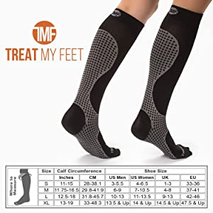 3 Pack M Compression Socks for Men & Women, Soft & Comfortable Knee High Pressure Socks for Men & Women - Boosts Circulation & Reduces Edema Swelling, 15-20 mmHg Anti-Embolism Stockings and DVT Socks (Color: Black / Grey, Tamaño: Medium (3 Pairs))