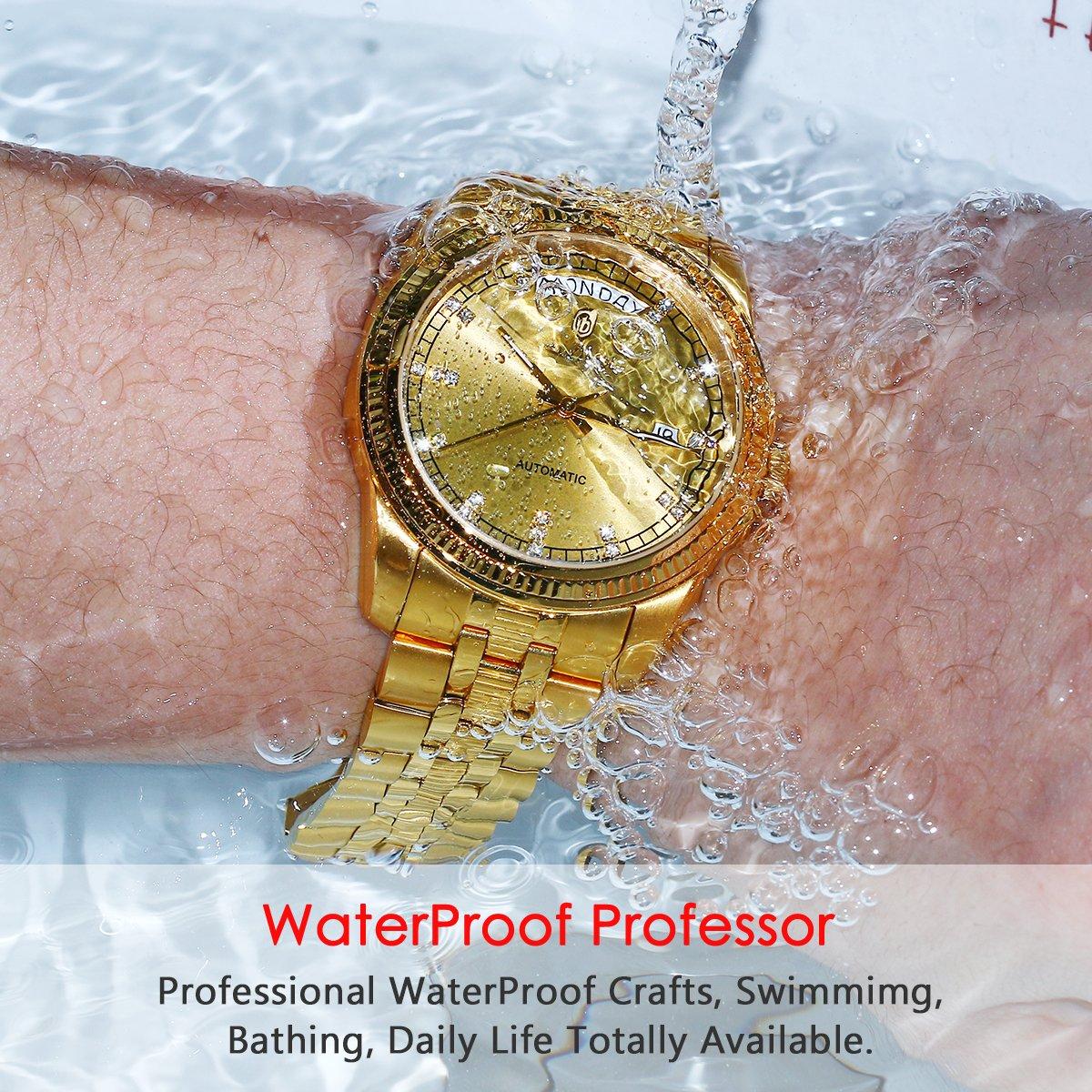 4b0e373f913 Amazon.com  BINLUN Mens 18K Gold Luxury Watches Waterproof Datejust  Diamonds Dress Watch Swiss Movement  Watches