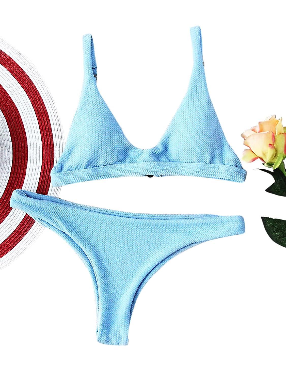 SOLYHUX Mujer Ropa de Baño Vestido de Playa Set Biquini Dos Piezas Set Bikini En Triángulo con Textura, Azul Tamaño S-L
