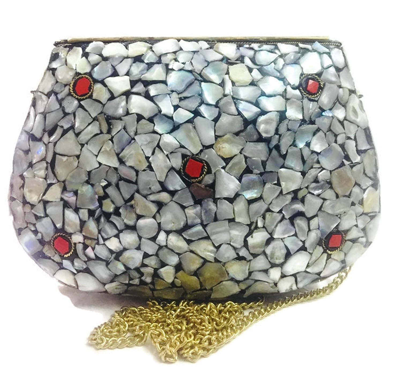 Gauri Bolso de fiesta Embrague antiguo Bolso de metal Concha de piedra mosaico embrague MOP n/ácar bolsa /étnico indio antiguo nupcial EMBRAGUE