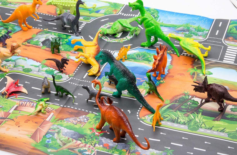 Dinosaur Toys and Play Mat Dinosaur Figurines Set Jurassic Park Toys for Birthday School Playtime Kids Boys Girls Tyrannosaurus Rex Raptor etc Stealing Egg Dragon Triceratops
