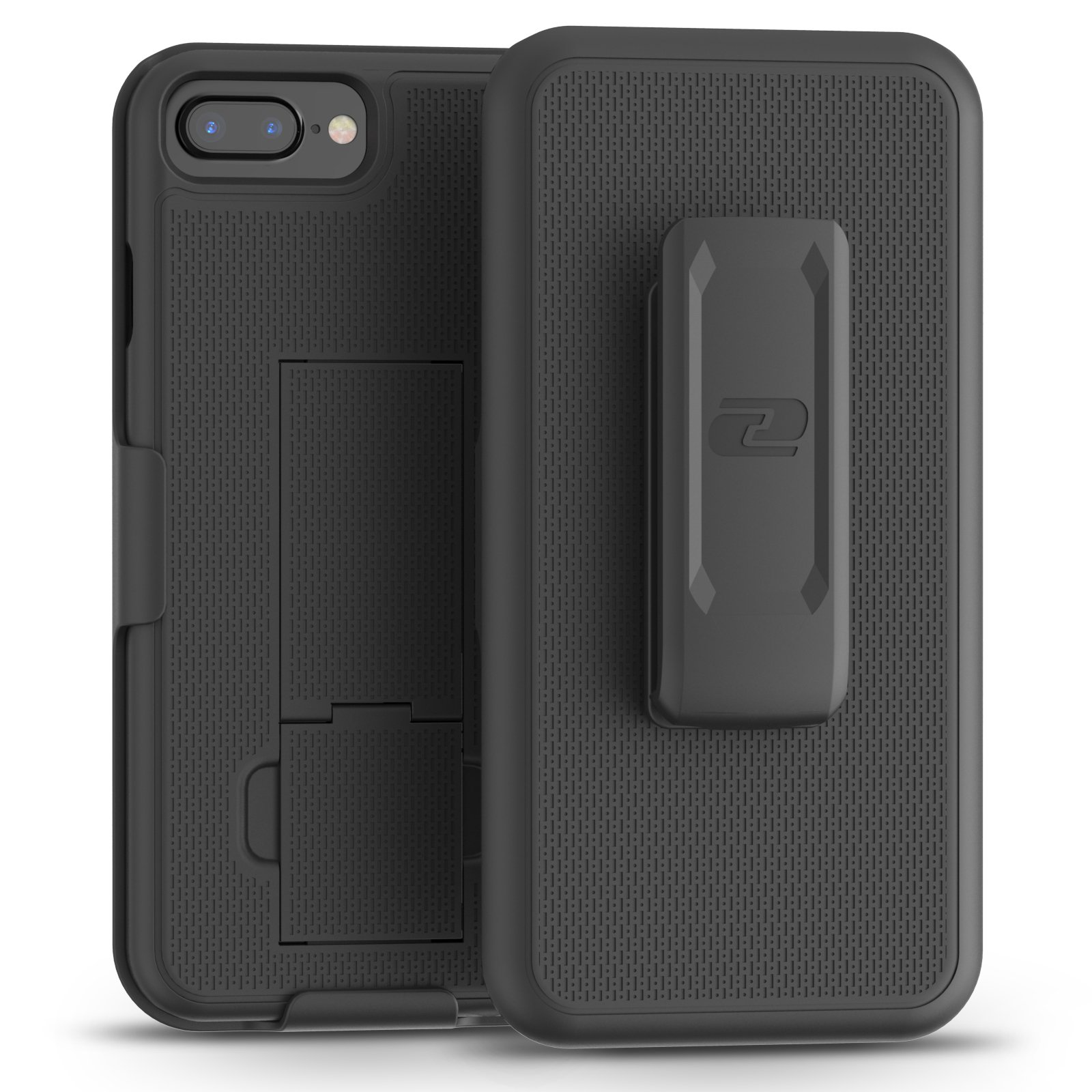 Encased DuraClip for iPhone 8 Plus Belt Clip Case, Thin Fit Holster Shell Combo Slim Cover with Rubberized Grip for Apple iPhone 8 Plus 5.5'' (Black)