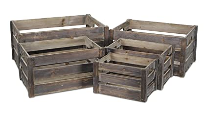 Cheungs Fp 3697 5 Nested Wood Slat Crate Set Of 5