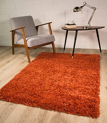 Ontario Luxury Easy Clean Burnt Orange Terracotta Shaggy Soft Pile Living Room Bedroom Shag Area Rug