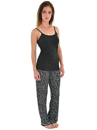 Int Intimate Womens Pajama Set Black Cami Shelf Bra Star Print PJ Pants 2  Piece Sizes e79243f9f