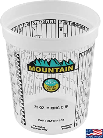 MOUNTAIN Disposable Quart Mixing Cups (100 per case), Made in USA; Solvent Resistant, Graduated Paint Mixing Cups, Reusable, Recommend by Paint Companies;
