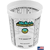 MOUNTAIN Disposable Quart Mixing Cups (100 per case), Made in USA; Solvent Resistant, Graduated Paint Mixing Cups, Reusable,