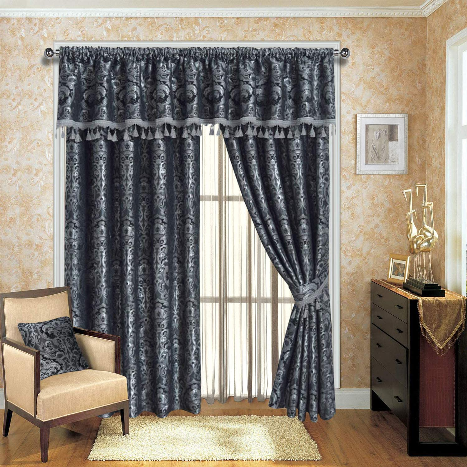 Imperial Rooms Grey Jacquard Pencil Pleat Window Fully Lined Curtains For Living Room Bedroom Kitchen Drapes Panels With Pelmets Tie Backs Grey Georgia 46 X 54 116cm X 137cm Amazon Co Uk Kitchen