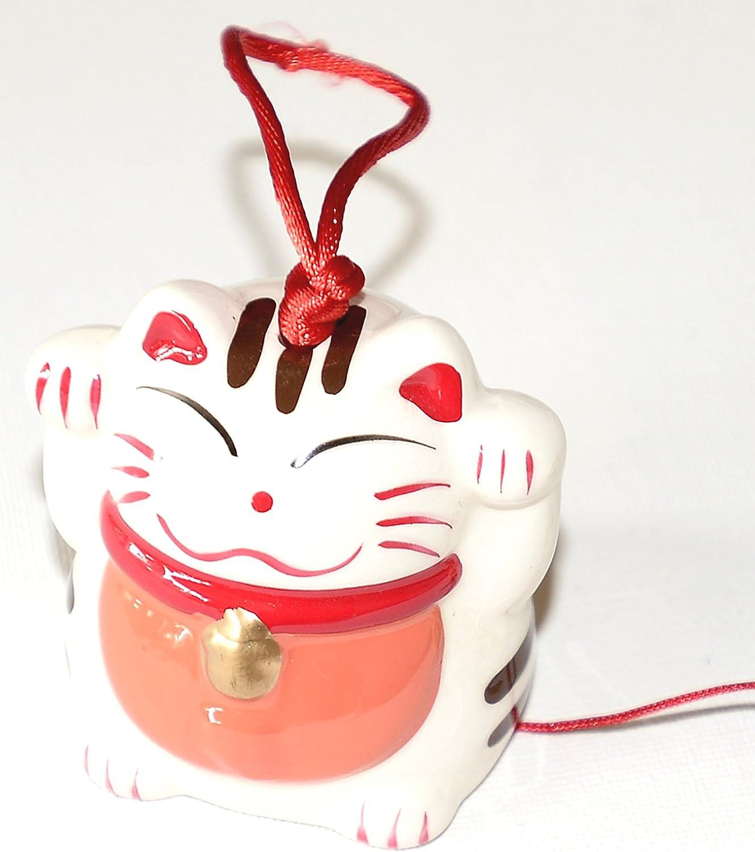 Japanese Feng-Shui LUCKY CAT Maneki-Neko Ceramic Wind Chime NEW in BOX