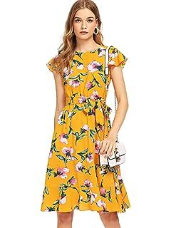 6e4b6e9561dd Tsher Women s Deep V-Neck 3 4 Sleeve Beach Holiday Dress Floral ...