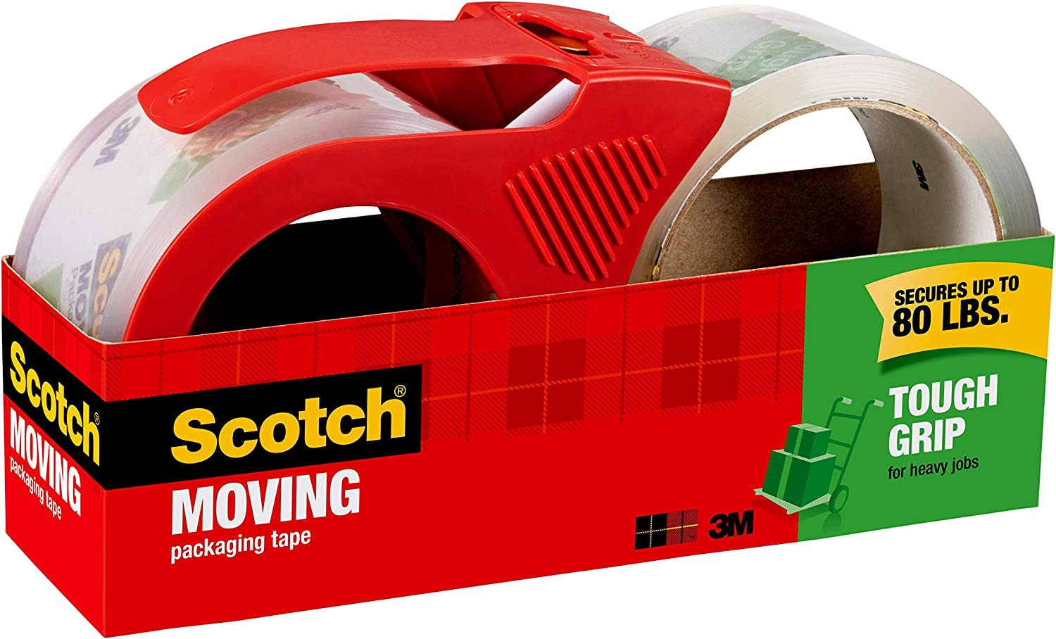 Scotch Tough Grip Moving Packaging Tape, 1.88 in. x 54.6 yd., 1 Dispenser and 1 Refill Roll/Pack : Office Products