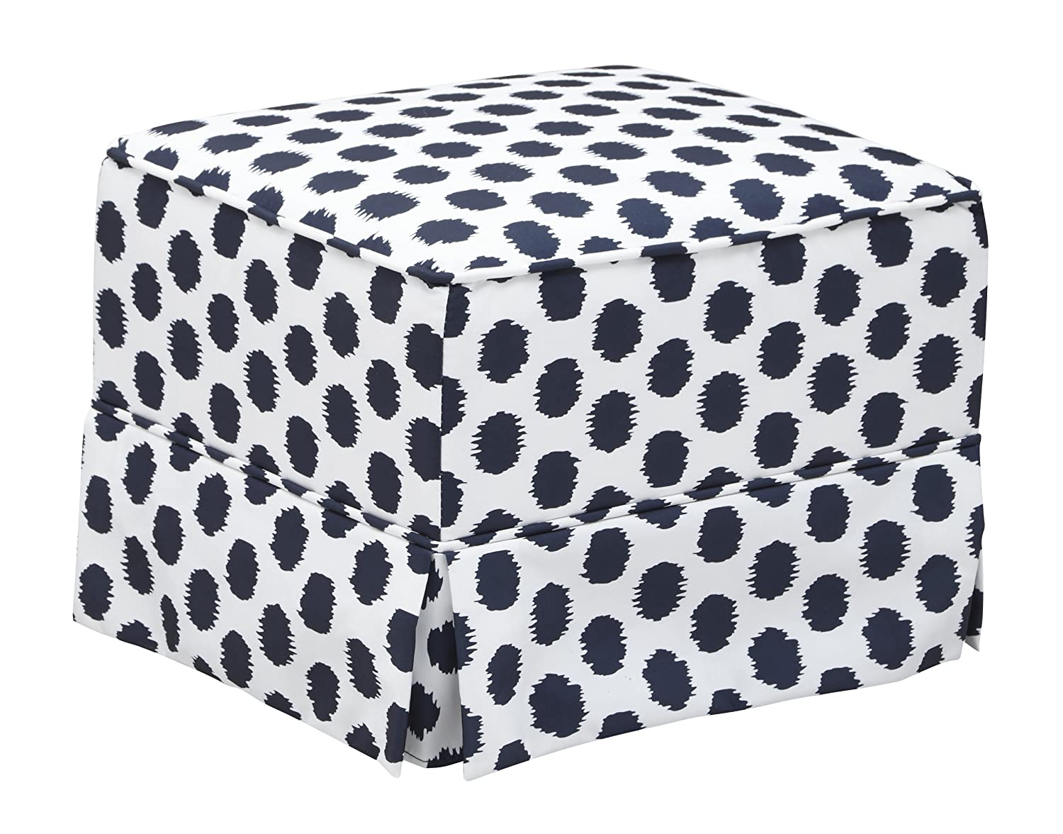 Storkcraft Polka Dot Upholstered Ottoman, White/Navy, Cleanable Upholstered Comfort Rocking Nursery Ottoman Stork Craft Manufacturing 06562-42V