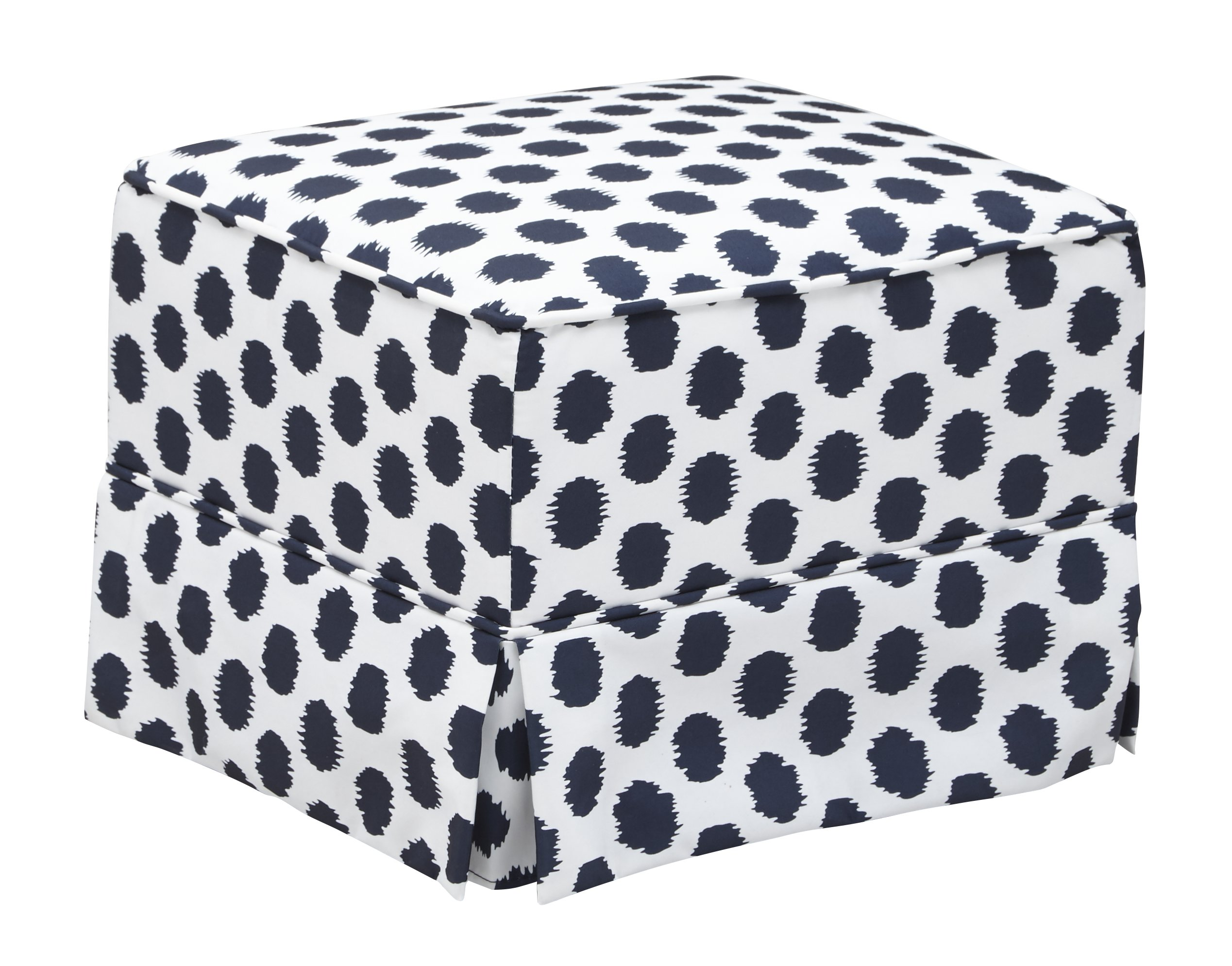 Storkcraft Polka Dot Upholstered Ottoman, White/Navy, Cleanable Upholstered Comfort Rocking Nursery Ottoman by Storkcraft