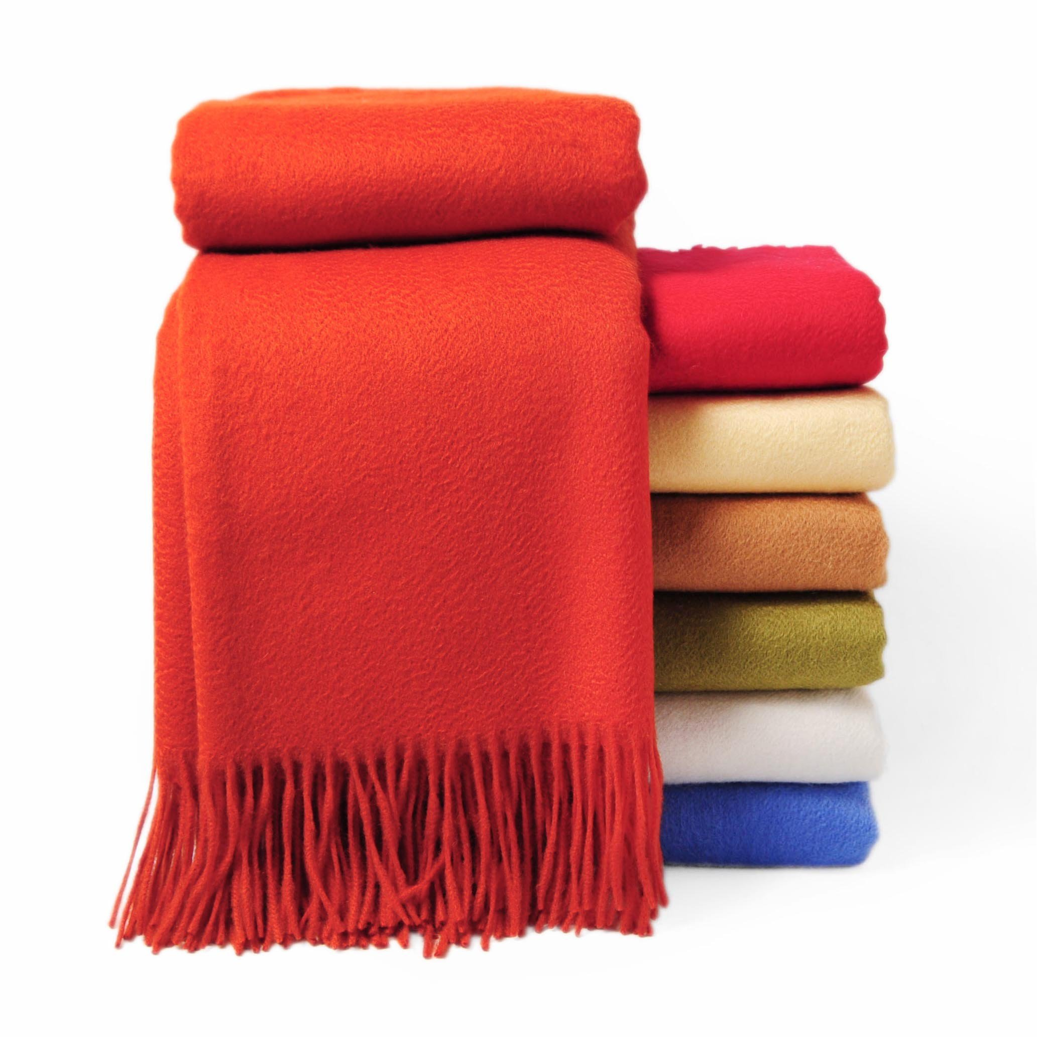 CUDDLE DREAMS Premium Cashmere Throw Blanket with Fringe, Luxuriously Soft (Persimmon)