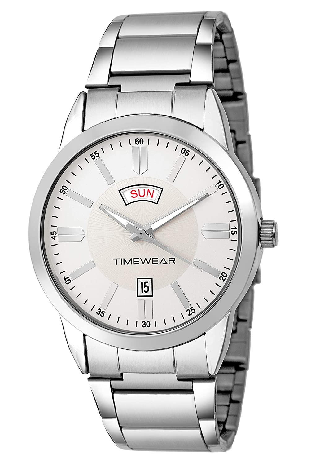 Timewear Analog Silver Dial Formal Day And Date Display