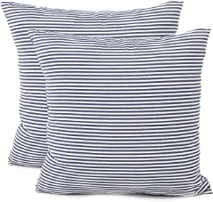 "Shamrockers Farmhouse Striped Throw Pillow Cover Decorative Cotton Linen Ticking Stripe Cushion Pillowcase (18""x18"", Navy, Pack of 2)"