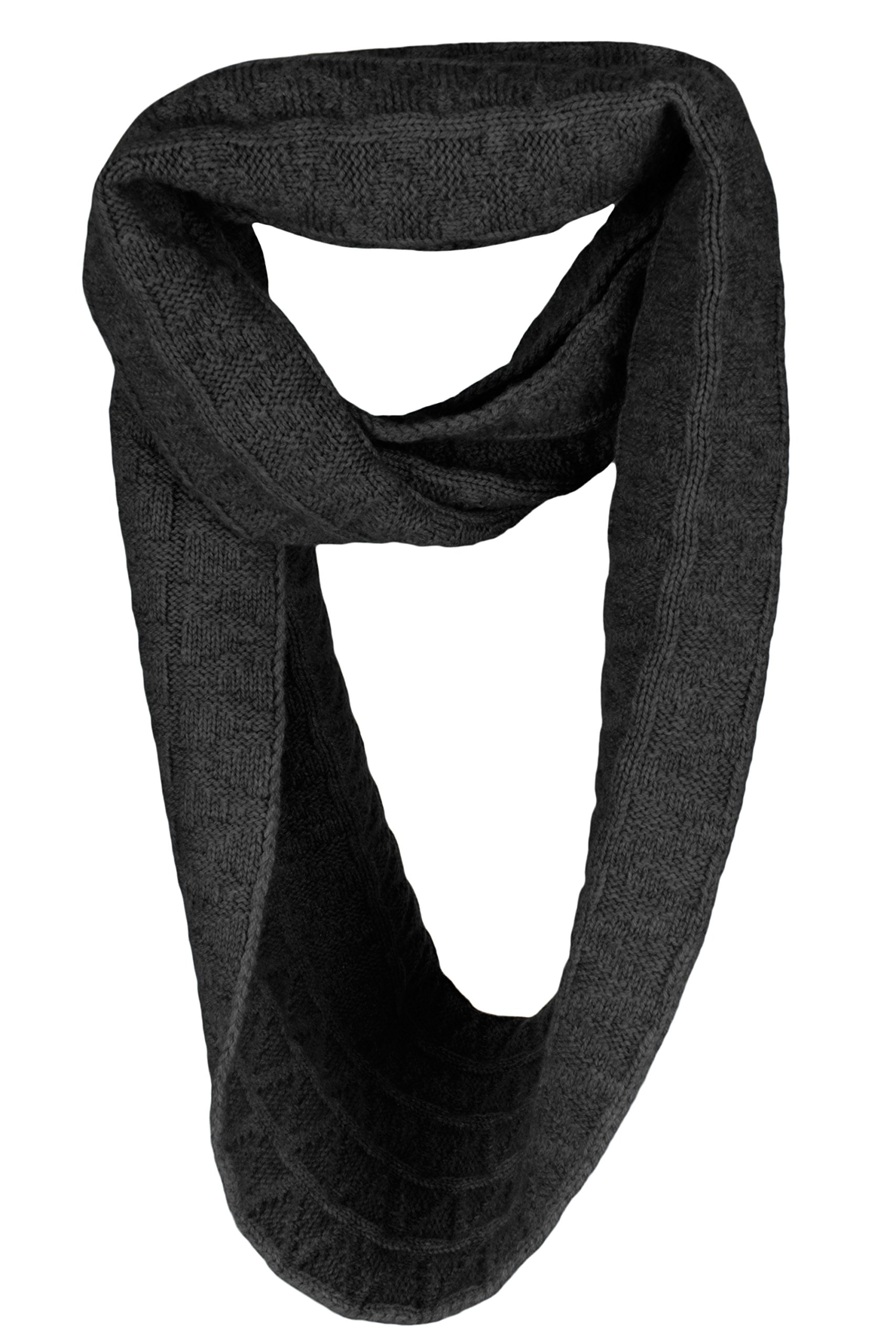 Love Cashmere Mens Zig-Zag 100% Cashmere Infinity Scarf Snood - Dark Gray - made in Scotland