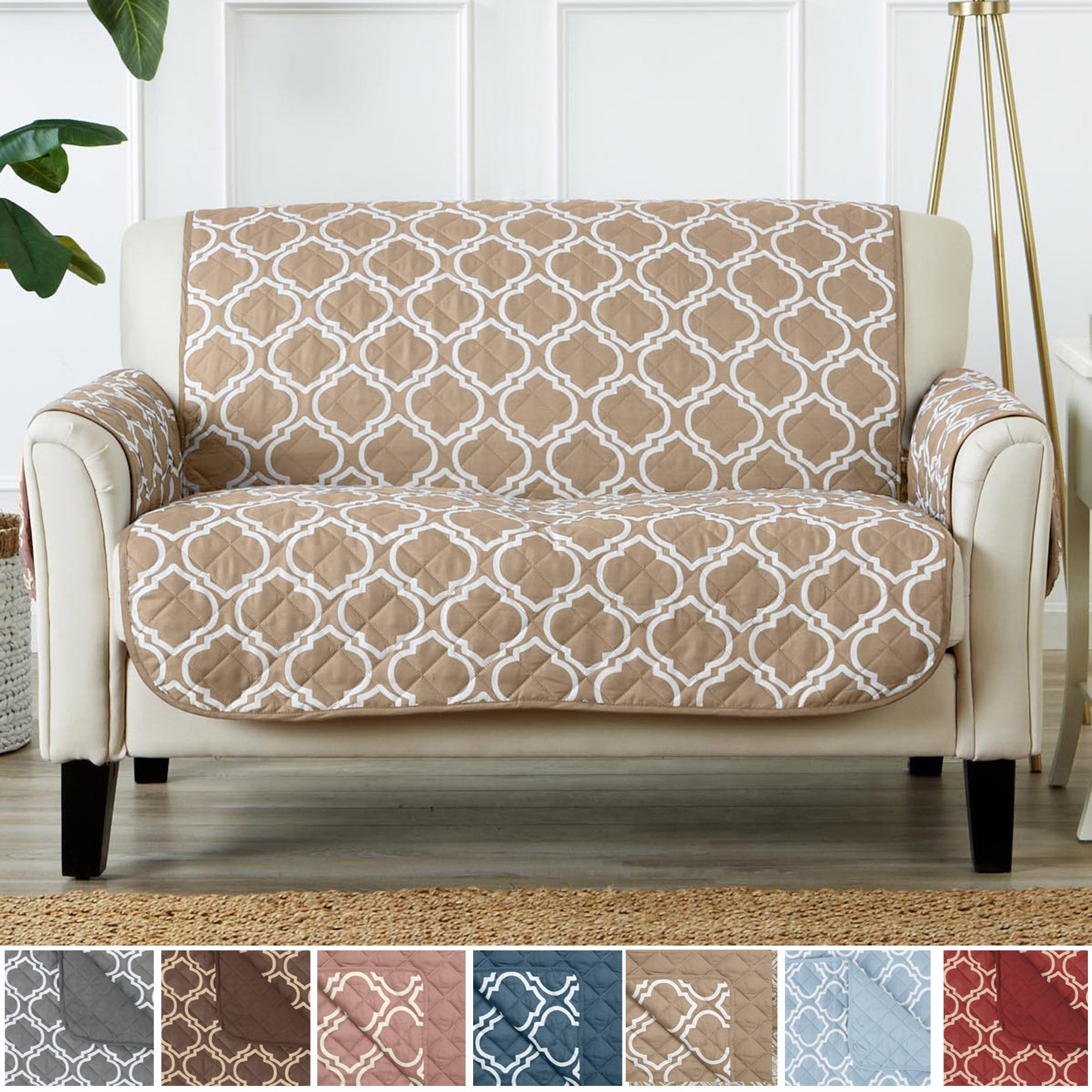 Home Fashion Designs Adalyn Collection Deluxe Reversible Quilted Furniture Protector. Beautiful Print on One Side/Solid Color on the Other for Two Fresh Looks. By Brand. (Loveseat, Lattice Taupe) by Home Fashion Designs
