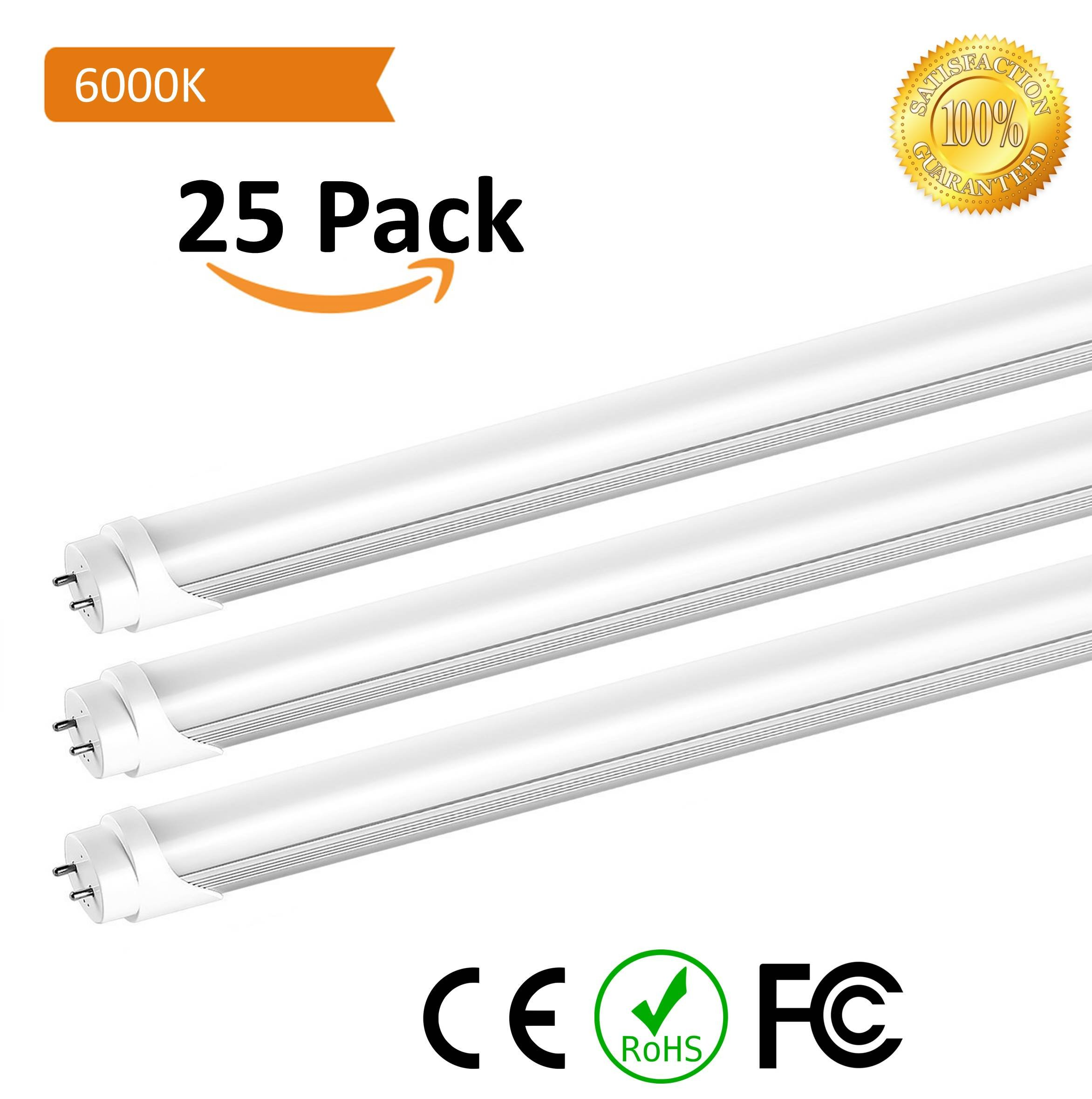 T8 LED Replacement, HouLight 25-Pack, 18W 4-foot T8 LED Light Tube, 6000K, White, Double End Power (25-Pack, Frosted Cover)