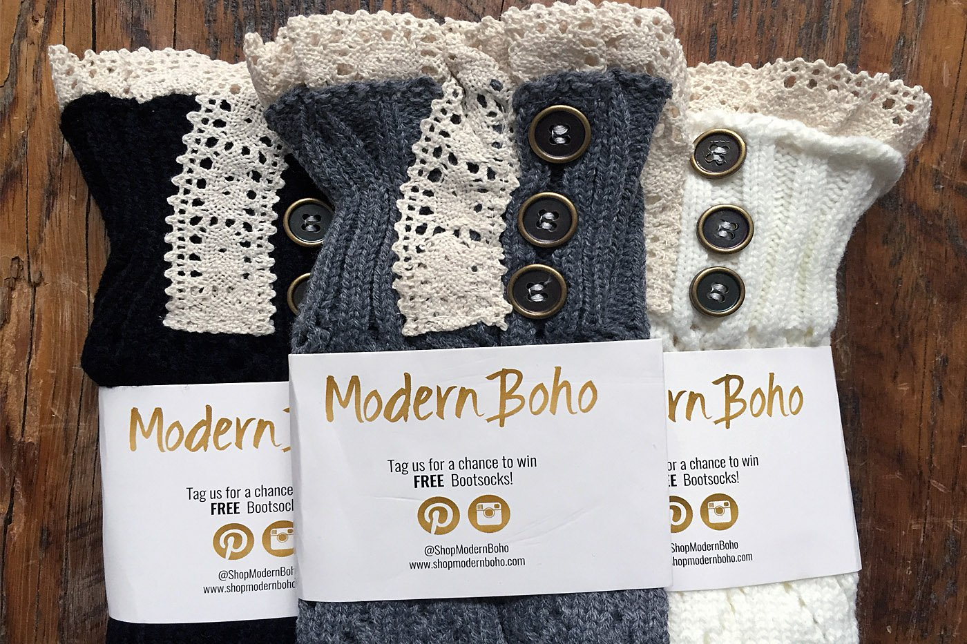 Boot Cuffs Vintage 3 Button Style Women's Boutique Socks Brand by Modern Boho Ivory by Boutique Socks (Image #5)