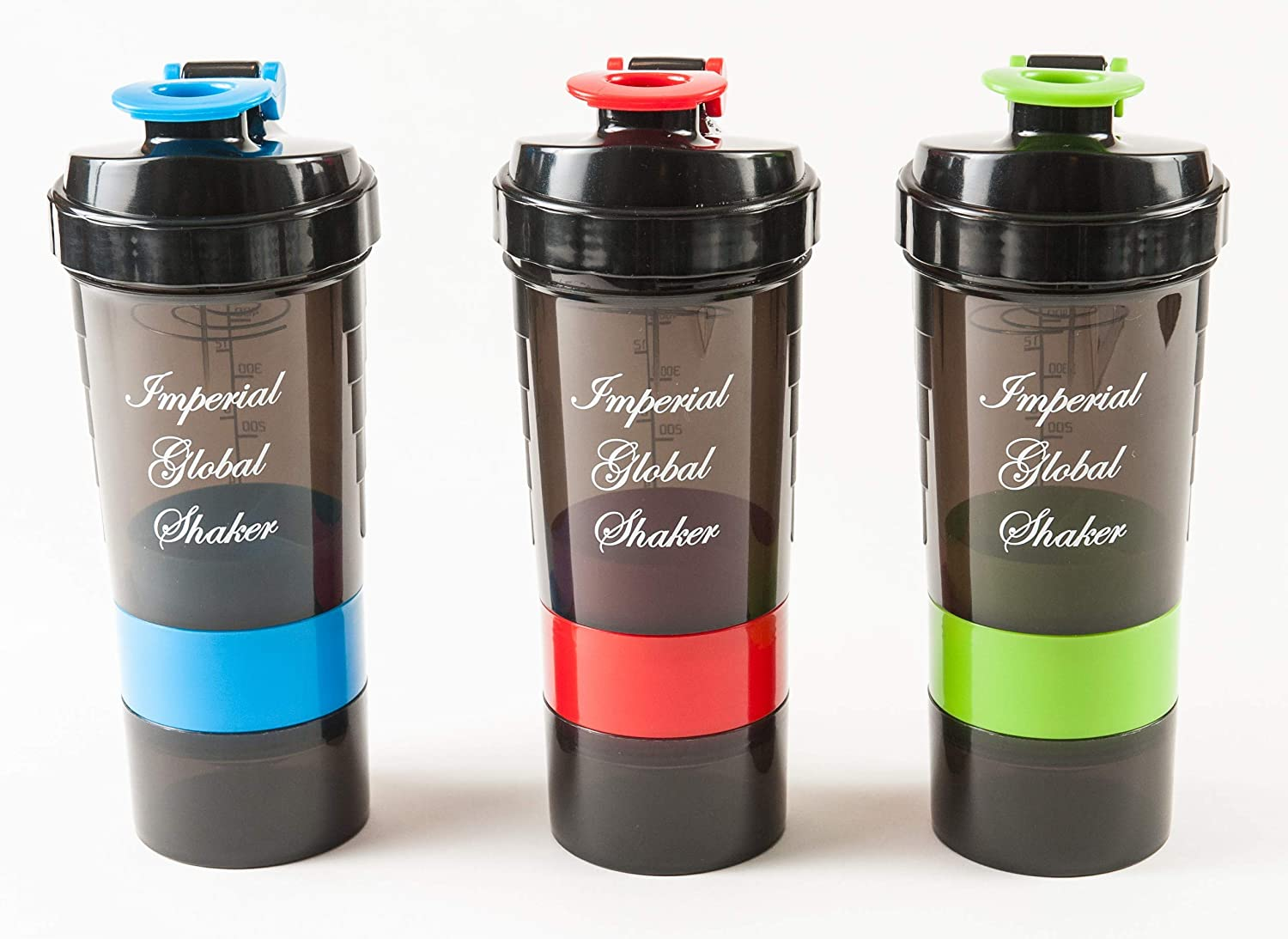 Best Value Protein Shaker Bottle (3 Pack) 16 oz (500 ml) Capacity with Two Storage Trays and Pill Tray. BPA Free