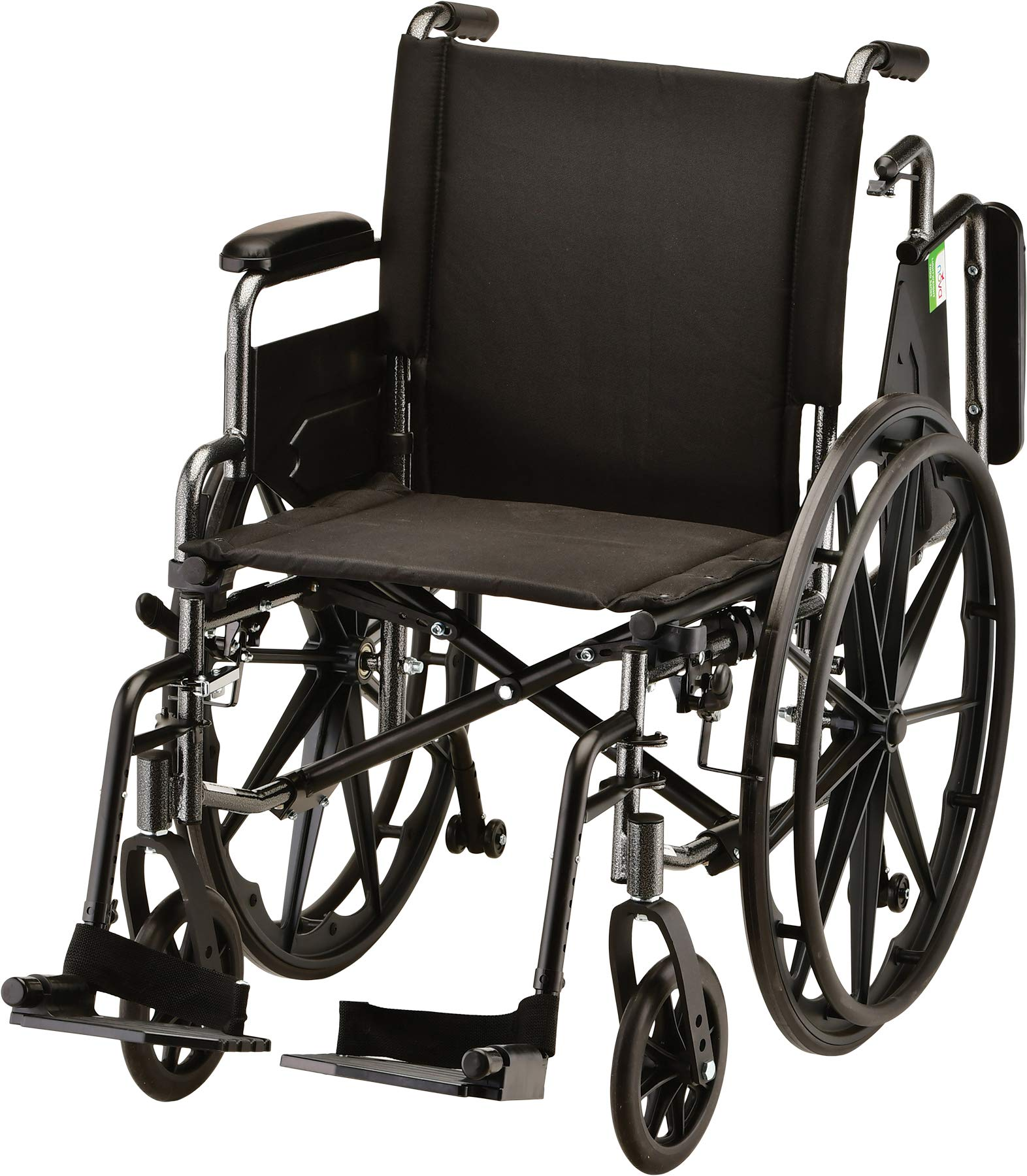 NOVA Lightweight Wheelchair with Flip Up Desk Arms (for Easy Transfer), Adjustable & Easy Release Footrests, Safety Anti-Tippers, Choose from 3 Seat Widths - 16'', 18''& 20'', Weighs only 32 lbs. by NOVA Medical Products